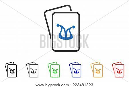 Joker Gambling Cards icon. Vector illustration style is a flat iconic joker gambling cards symbol with grey, yellow, green, blue, red, black color variants. Designed for web and software interfaces. poster