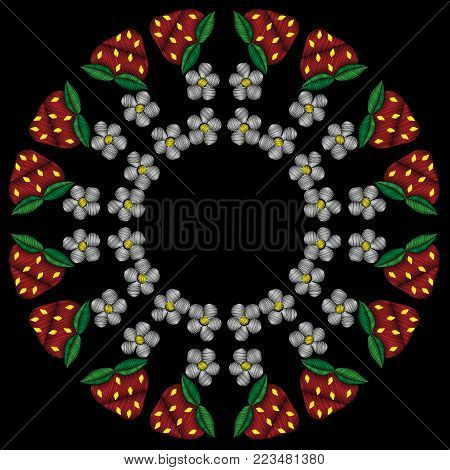 Round frame with strawberry and flower embroidery stitches imitation. Fashion strawberry frame embroidery on black background.