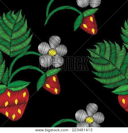Seamless pattern with strawberry and flower embroidery stitches imitation. Fashion strawberry embroidery on black background. Embroidery style strawberry.