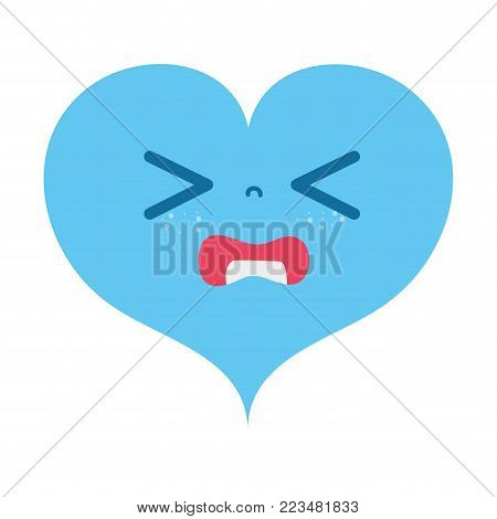 colorful gaudy heart love kawaii cartoon vector illustration