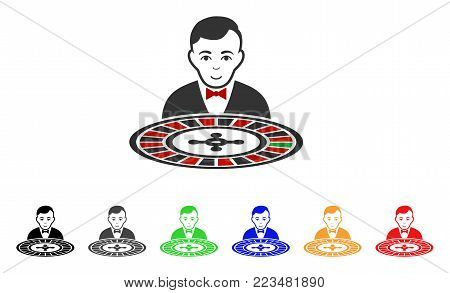 Roulette Dealer icon. Vector illustration style is a flat iconic roulette dealer symbol with gray, yellow, green, blue, red, black color versions. Designed for web and software interfaces.