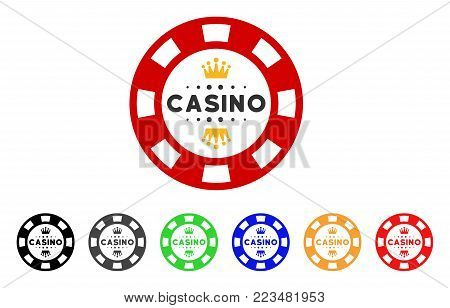 Royal Casino Chip icon. Vector illustration style is a flat iconic royal casino chip symbol with grey, yellow, green, blue, red, black color variants. Designed for web and software interfaces.