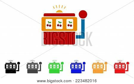 Slot Machine icon. Vector illustration style is a flat iconic slot machine symbol with gray, yellow, green, blue, red, black color variants. Designed for web and software interfaces.