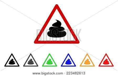 Shit Warning icon. Vector illustration style is a flat iconic shit warning symbol with grey, yellow, green, blue, red, black color versions. Designed for web and software interfaces.