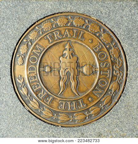 BOSTON - OCT 2, 2013: Sign of Boston the Freedom Trail in downtown Boston, Massachusetts, USA.
