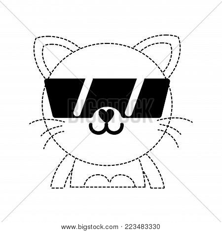dotted shape happy cat adorable feline animal with sunglasses vector illustration poster