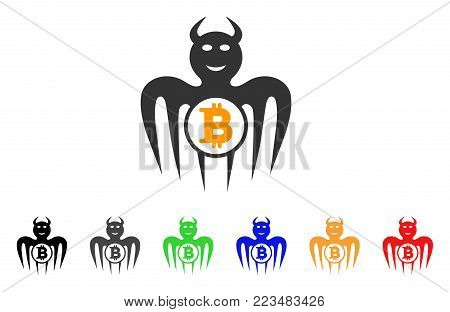 Bitcoin Happy Spectre Devil icon. Vector illustration style is a flat iconic bitcoin happy spectre devil symbol with grey, yellow, green, blue, red, black color variants.