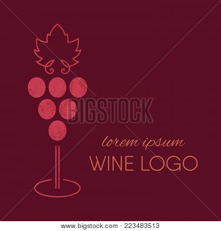 Red grapes goblet logo with grunge texture. Wine or vine logotype. Brand design element for organic wine, wine list, menu, liquor store, selling alcohol, wine company. Vector illustration.