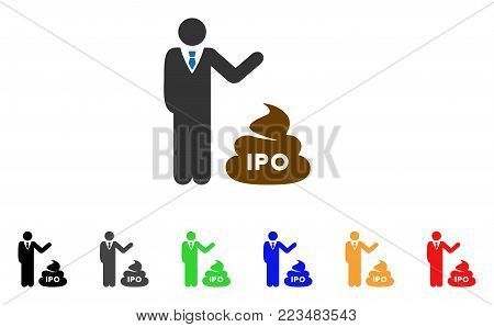 Businessman Show Ipo Shit icon. Vector illustration style is a flat iconic businessman show IPO shit symbol with gray, yellow, green, blue, red, black color variants.