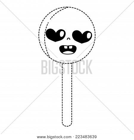 dotted shape enamored circle ice lolly kawaii vector illustration