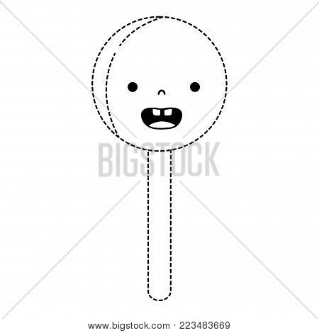 dotted shape smile circle ice lolly kawaii vector illustration
