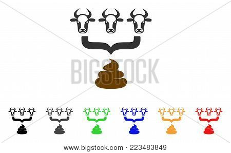 Cow Manure Aggregator Funnel icon. Vector illustration style is a flat iconic cow manure aggregator funnel symbol with gray, yellow, green, blue, red, black color versions.
