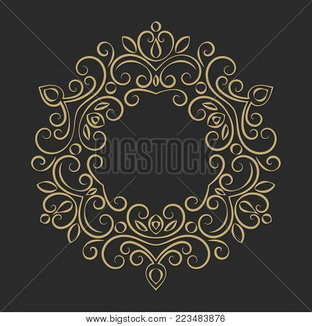 Elegant hand drawn retro floral frame. Design template for banner, card, invitation, label, emblem etc. Lineart vintage border. Vector illustration.