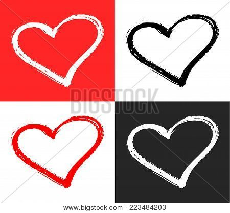 Vector set of red, black and white hearts shape. Hand drawn heart frames and stamps. Grunge brush painting Valentine's Day symbol