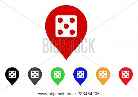 Dice Casino Marker icon. Vector illustration style is a flat iconic dice casino marker symbol with gray, yellow, green, blue, red, black color variants. Designed for web and software interfaces.
