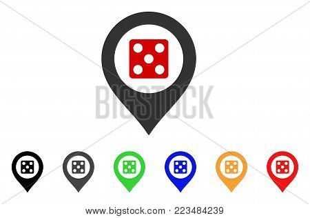 Dice Map Marker icon. Vector illustration style is a flat iconic dice map marker symbol with grey, yellow, green, blue, red, black color variants. Designed for web and software interfaces. poster