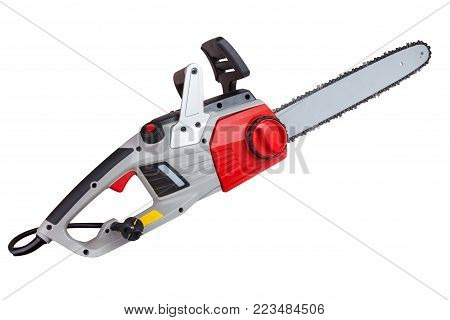 Chain tensioner electric power saws close-up isolated on white background with clipping paths