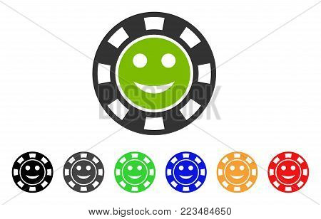 Glad Casino Chip icon. Vector illustration style is a flat iconic glad casino chip symbol with grey, yellow, green, blue, red, black color variants. Designed for web and software interfaces.