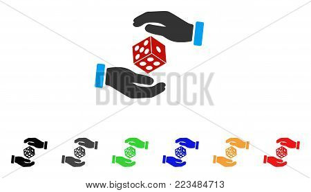 Hands Throw Dice icon. Vector illustration style is a flat iconic hands throw dice symbol with grey, yellow, green, blue, red, black color variants. Designed for web and software interfaces.