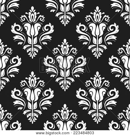 Orient vector classic pattern. Seamless abstract background with vintage elements. Orient black and white background