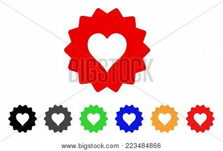 Hearts Token icon. Vector illustration style is a flat iconic hearts token symbol with gray, yellow, green, blue, red, black color versions. Designed for web and software interfaces.