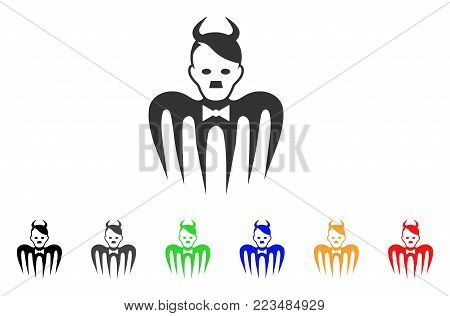 Hitler Spectre Devil icon. Vector illustration style is a flat iconic hitler spectre devil symbol with grey, yellow, green, blue, red, black color variants. Designed for web and software interfaces.