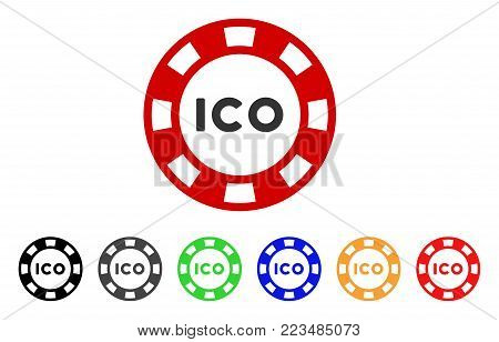 Ico Token icon. Vector illustration style is a flat iconic ico token symbol with gray, yellow, green, blue, red, black color variants. Designed for web and software interfaces.