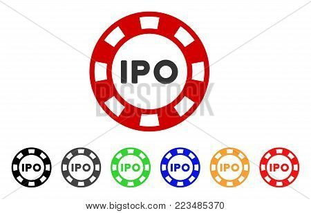 Ipo Token icon. Vector illustration style is a flat iconic ipo token symbol with gray, yellow, green, blue, red, black color versions. Designed for web and software interfaces.
