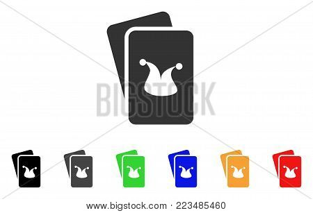 Joker Gaming Cards icon. Vector illustration style is a flat iconic joker gaming cards symbol with grey, yellow, green, blue, red, black color versions. Designed for web and software interfaces.