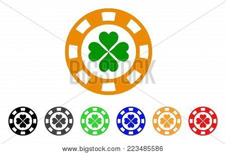 Lucky Casino Chip icon. Vector illustration style is a flat iconic lucky casino chip symbol with grey, yellow, green, blue, red, black color versions. Designed for web and software interfaces.