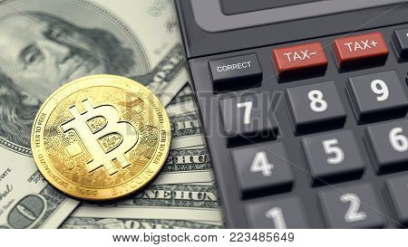 Bitcoin, dollars and calculator. Calculating fees on bitcoin transactions. 3D rendering