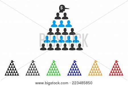 Ponzi Pyramid Manager icon. Vector illustration style is a flat iconic ponzi pyramid manager symbol with gray, yellow, green, blue, red, black color variants. Designed for web and software interfaces.