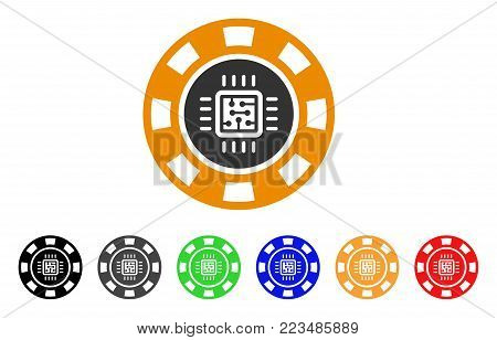 Processor Casino Chip icon. Vector illustration style is a flat iconic processor casino chip symbol with gray, yellow, green, blue, red, black color versions. Designed for web and software interfaces.