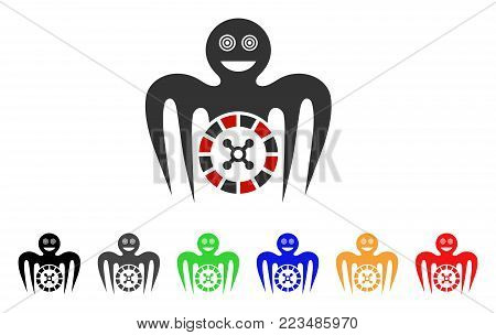 Roulette Mad Monster icon. Vector illustration style is a flat iconic roulette mad monster symbol with grey, yellow, green, blue, red, black color versions. Designed for web and software interfaces.