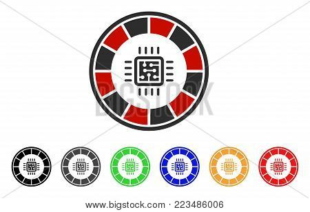 Roulette Processor icon. Vector illustration style is a flat iconic roulette processor symbol with grey, yellow, green, blue, red, black color variants. Designed for web and software interfaces.