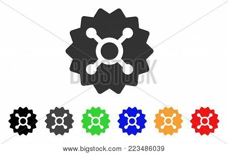 Roulette Token icon. Vector illustration style is a flat iconic roulette token symbol with gray, yellow, green, blue, red, black color versions. Designed for web and software interfaces.