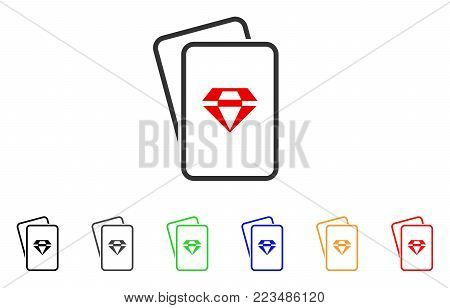 Ruby Gambling Cards icon. Vector illustration style is a flat iconic ruby gambling cards symbol with gray, yellow, green, blue, red, black color variants. Designed for web and software interfaces.