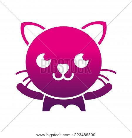 silhouette smile cat adorable feline animal vector illustration poster