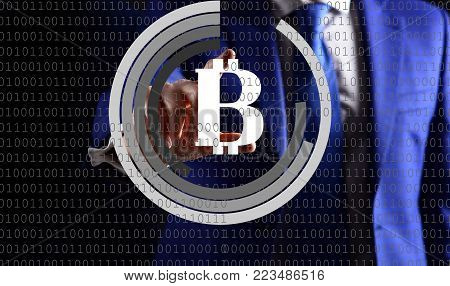 virtual banking. business man and bitcoin. Digitall symbol of a new virtual currency. btc digital investment. business of future, Fintech