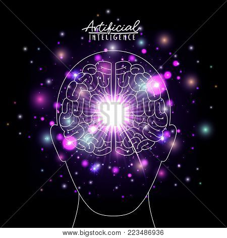 artificial intelligence poster with human head silhouette with brain in transparency over black background with sparkles in purple vector illustration