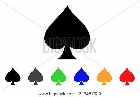 Spades Suit icon. Vector illustration style is a flat iconic spades suit symbol with gray, yellow, green, blue, red, black color variants. Designed for web and software interfaces.