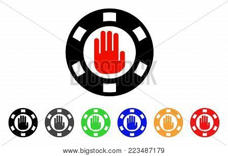 Stop Gambling Chip icon. Vector illustration style is a flat iconic stop gambling chip symbol with gray, yellow, green, blue, red, black color versions. Designed for web and software interfaces.