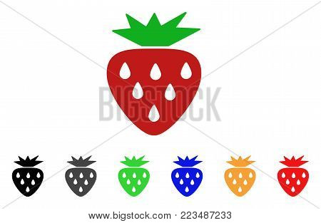 Strawberry icon. Vector illustration style is a flat iconic strawberry symbol with grey, yellow, green, blue, red, black color versions. Designed for web and software interfaces.