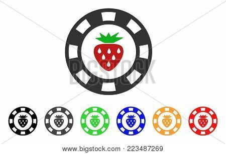 Strawberry Casino Chip icon. Vector illustration style is a flat iconic strawberry casino chip symbol with grey, yellow, green, blue, red, black color variants.