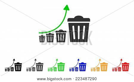 Trash Growing Trend icon. Vector illustration style is a flat iconic trash growing trend symbol with grey, yellow, green, blue, red, black color versions. Designed for web and software interfaces.