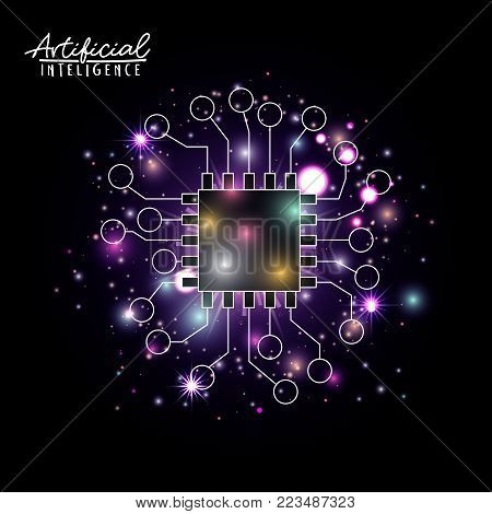 artificial intelligence poster with microprocessor unit circuit brain in transparency over black background with sparkles in purple vector illustration