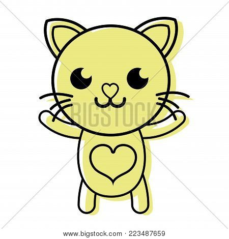 color smile cat cute feline animal vector illustration