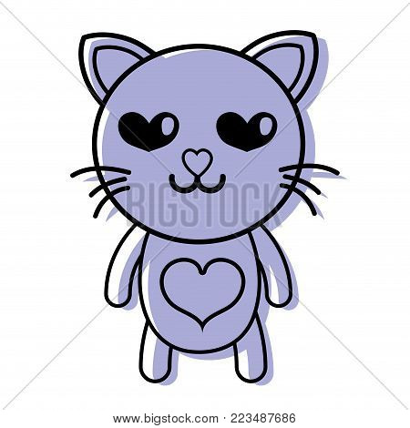 color enamored cat cute feline animal vector illustration