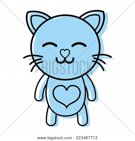 color sleeping cat cute feline animal vector illustration