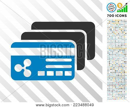 Ripple Banking Cards pictograph with 7 hundred bonus bitcoin mining and blockchain pictographs. Vector illustration style is flat iconic symbols designed for crypto currency apps.
